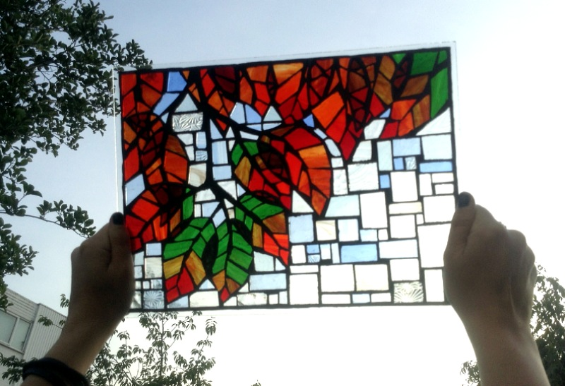 Through the leaves - stained glass mosaic window