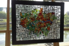 Only Happy Round the Edges - stained glass mosaic panel. Intallation view.