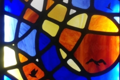 Ripples. Stained and painted glass mosaic light box.