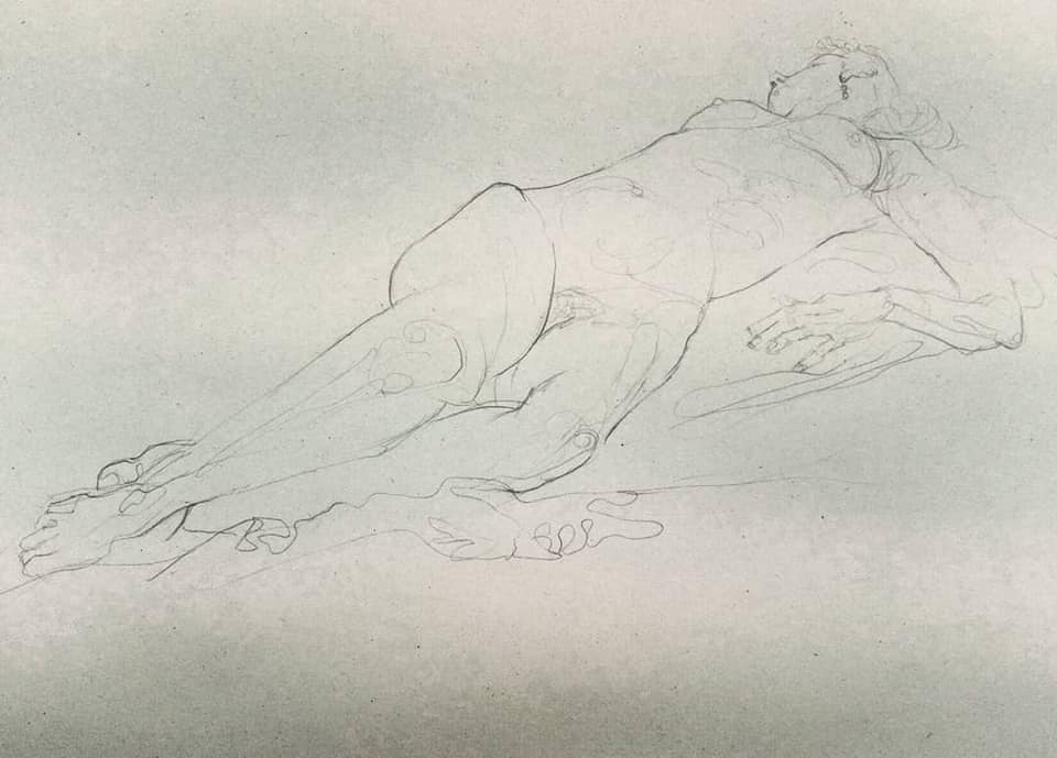 Life Drawing - reclining female figure