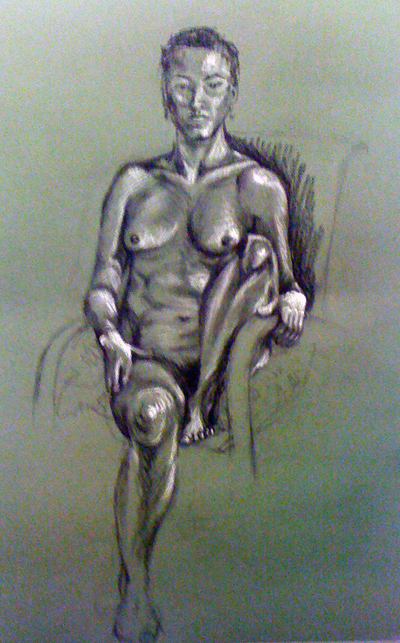 Life drawing - seated, foot up