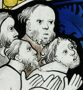 Detail - Corporal Acts of Mercy painted stained glass panel