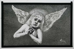 Angel painted glass panel