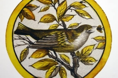 Painted Glass bird roundel