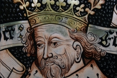 St Edmund or St. Edward the Confessor? painted glass panel