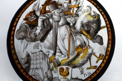 Replica 16th century painted glass roundel