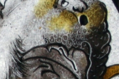 Detail of a replica 16th century painted glass roundel by Muna Zuberi