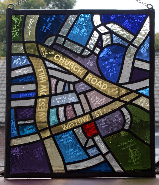 I Am Here - engraved stained glass map of Crystal Palace