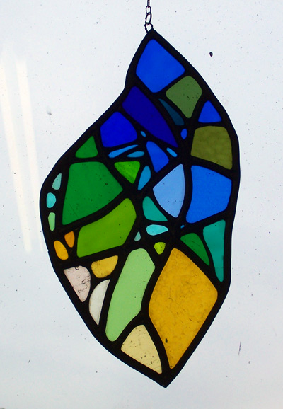 Melting Ice copperfoiled and stained glass free hanging panel 2011