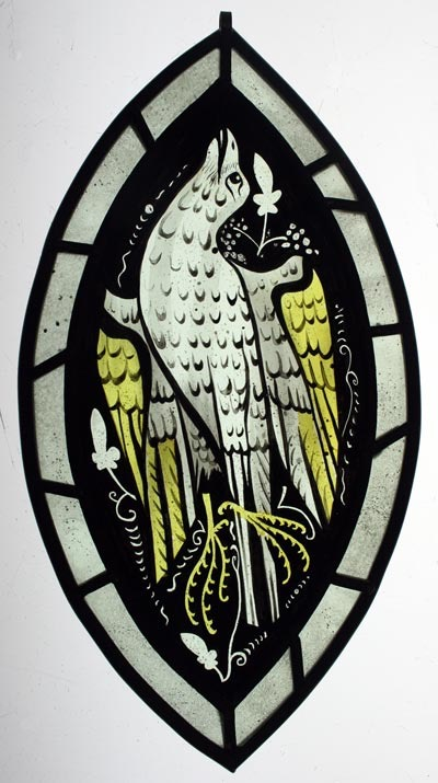 Medieval style painted bird glass panel