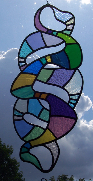 Celtic Knot free hanging stained glass panel