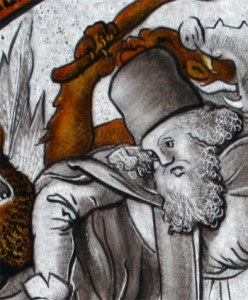 Detail from a replica I made of a 1532 German roundel showing St Anthony Abbot's test of faith at the hands of a clutch of fantastical demons. The original is in the Metropolitan Museum of Art in New York.